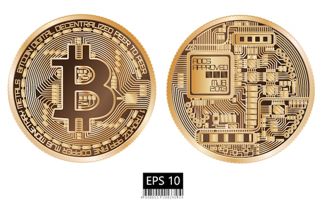 Bitcoin. Pièce De Monnaie Physique. Monnaie Numérique. Crypto-monnaie. Pièce Double Face Avec Symbole Bitcoin Isolé Vecteur Premium