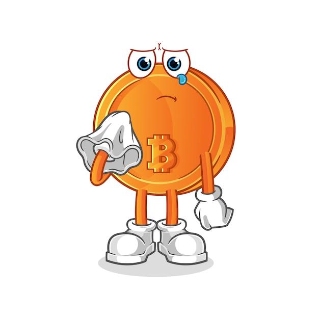 Bitcoin Pleurer Avec Un Mouchoir Vecteur Premium