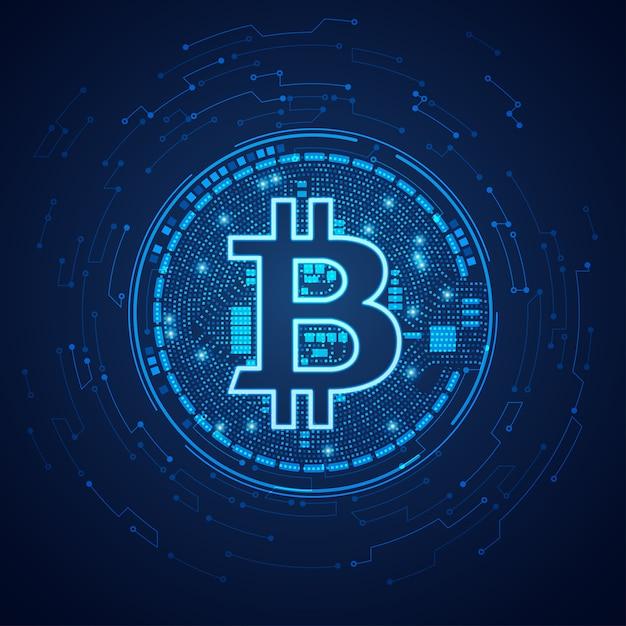 Bitcoin en pointillé Vecteur Premium