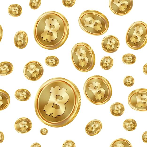 Bitcoin seamless pattern. Vecteur Premium