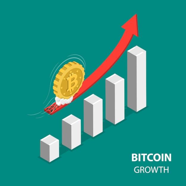 Bitcoing Croissance Plat Isométrique Low Poly Vecteur Premium