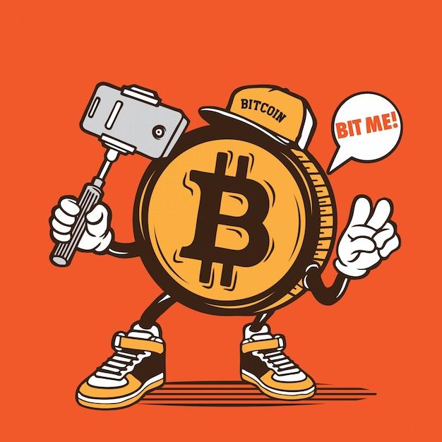 Bitcon Selfie Character Design Vecteur Premium