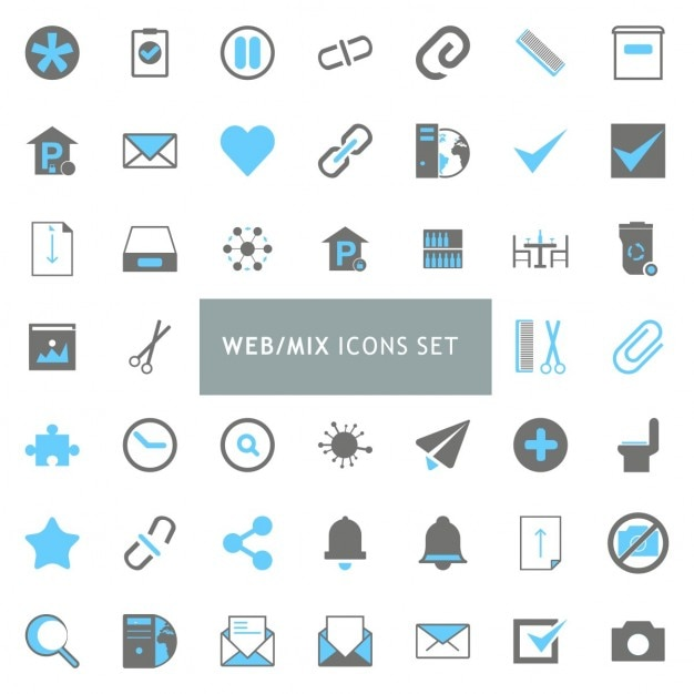 Black and blue mix icon set Vecteur gratuit
