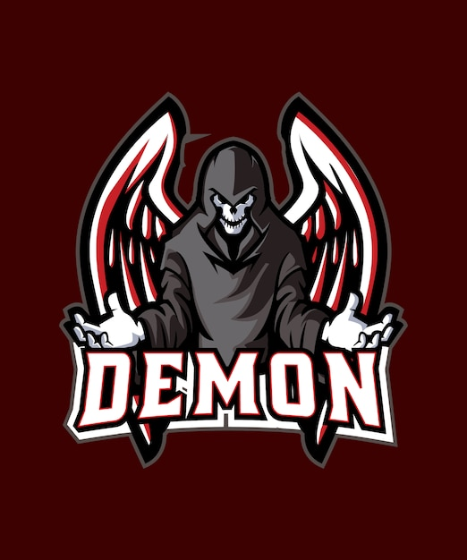 Black demon e sports logo Vecteur Premium