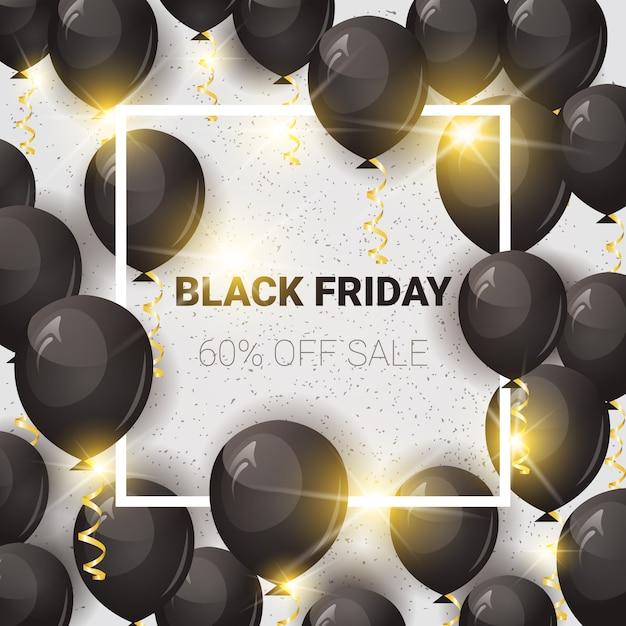 Black friday 60% de rabais sur la bannière de vente avec des ballons à air Vecteur Premium