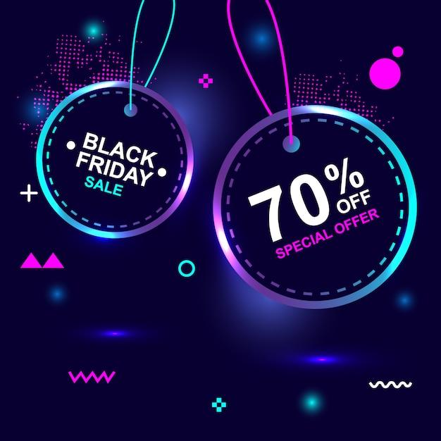 Black friday: 70% de rabais sur la bannière de géométrie créative pour une vente flash spéciale Vecteur Premium