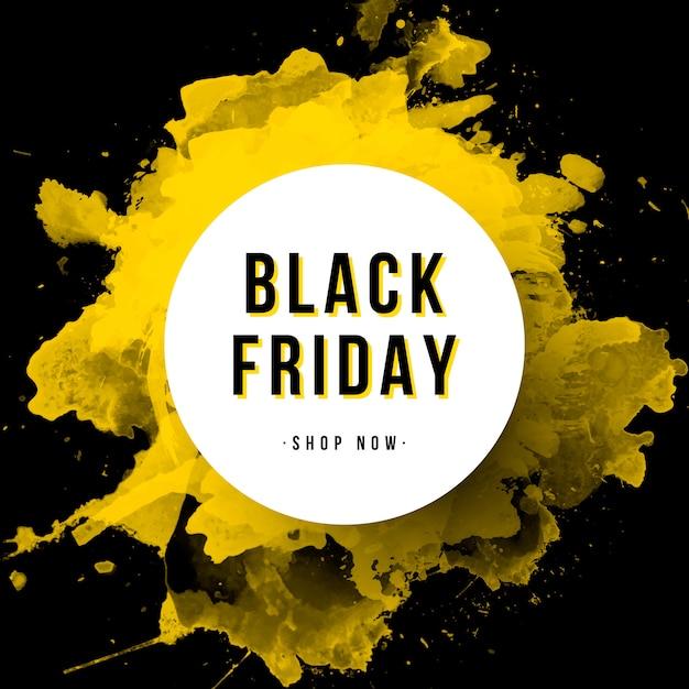 Black friday banner avec éclaboussures d'aquarelle Vecteur gratuit