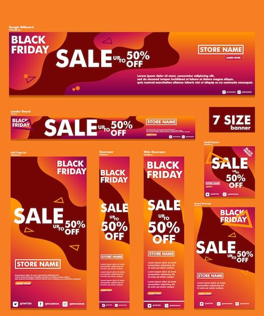 Black friday bannière bundle 7 taille Vecteur Premium