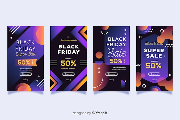 Black Friday Instagram Histoires Ensemble Vecteur gratuit