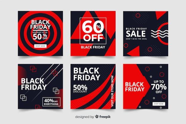 Black Friday Instagram Post Pack Vecteur gratuit