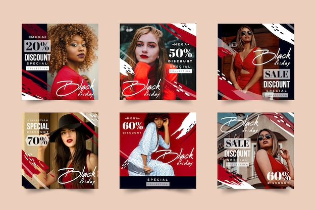 Black friday instagram post pack Vecteur gratuit