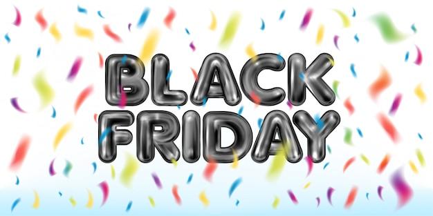 Black Friday Lettrage En Latex Noir Avec Des Confettis Colorés Vecteur Premium