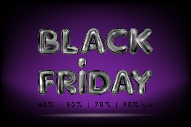 Black Friday Lettrage En Latex Noir Sur Violet Vecteur Premium