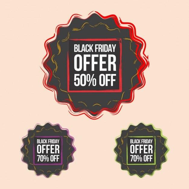 black friday offre badges t l charger des vecteurs gratuitement. Black Bedroom Furniture Sets. Home Design Ideas