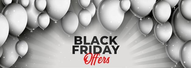 Black friday offre et bannière de vente avec des ballons Vecteur gratuit