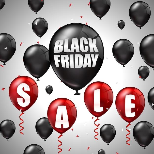 Black friday sale avec des ballons noirs et rouges et des réductions Vecteur Premium
