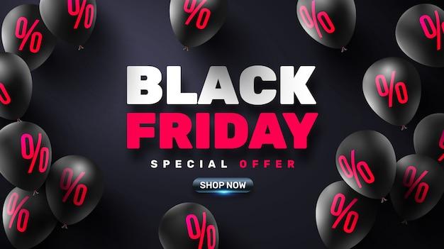 Black friday sale poster avec des ballons noirs pour la vente au détail Vecteur Premium