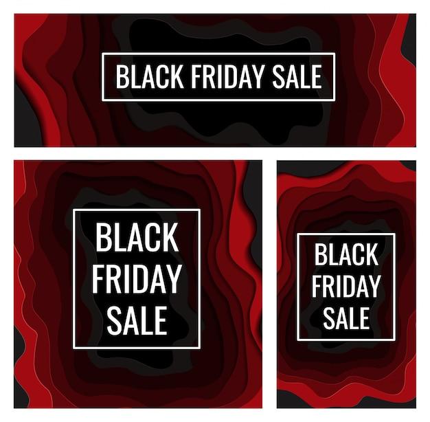 Black friday set de bannières pour les magasins et les médias sociaux dans le style de papier découpé Vecteur Premium