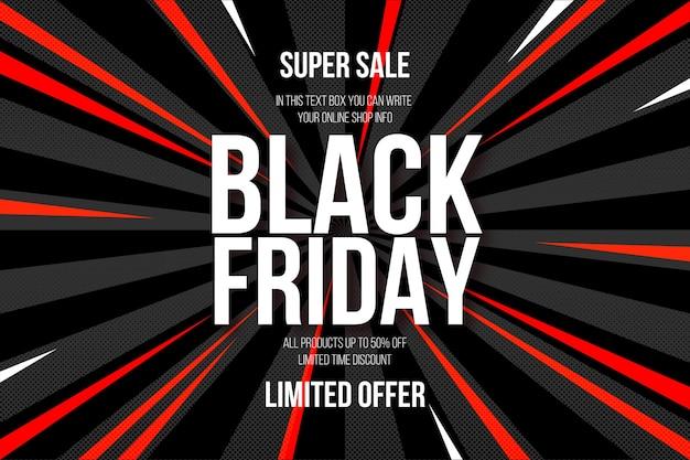 Black Friday Super Vente Avec Fond De Bande Dessinee Abstraite Vecteur Gratuite