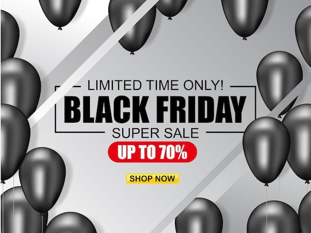 Black friday vente affiche illustration avec des ballons brillants Vecteur Premium