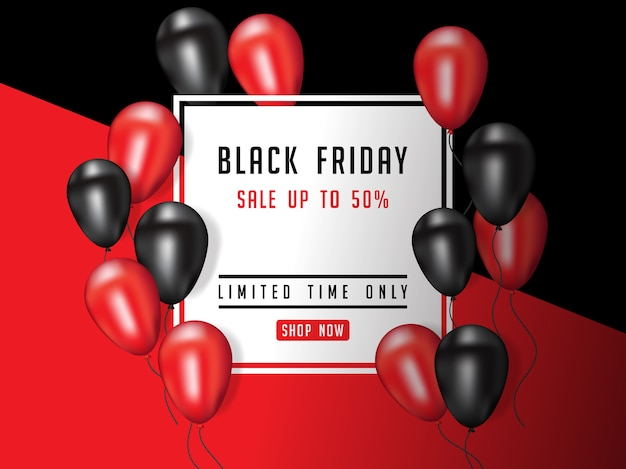 Black friday vente affiche illustration avec des ballons brillants Vecteur Premium
