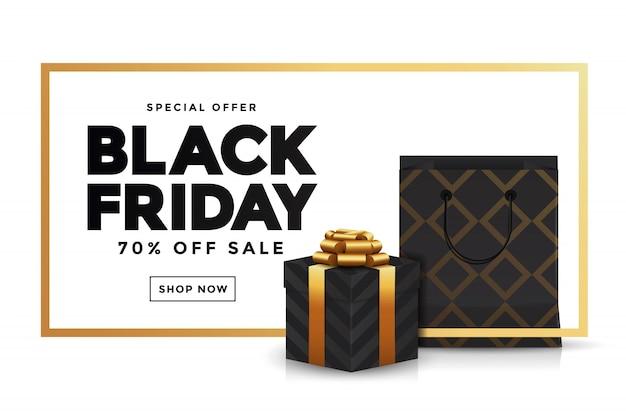 Black Friday Vente Bannière 3 Vecteur Premium
