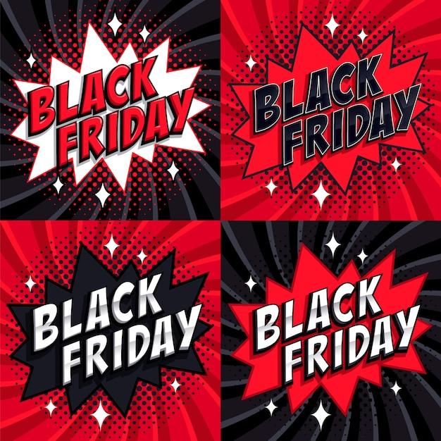 Black friday vente ensemble Vecteur Premium