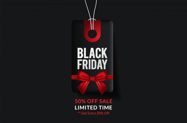 Black Friday Vente étiquette Noire, Bannière Ronde, Publicité, Illustration Vecteur Premium