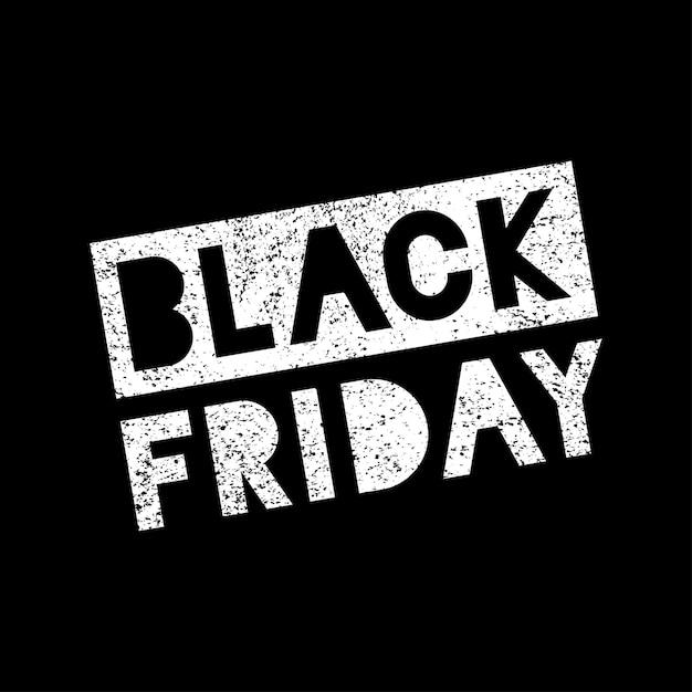 Black Friday Vente Scribble Grunge Timbre Blanc Sur Fond Noir, Vecto Vecteur Premium