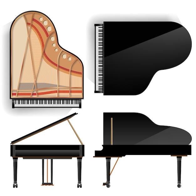 Black grand piano set icon Vecteur Premium