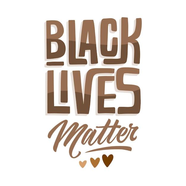 Black Lives Matter Lettrage Avec Coeurs Vecteur gratuit