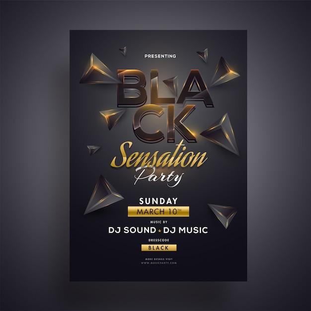 Black sensation party design de flyer ou modèle avec géométrique 3d Vecteur Premium