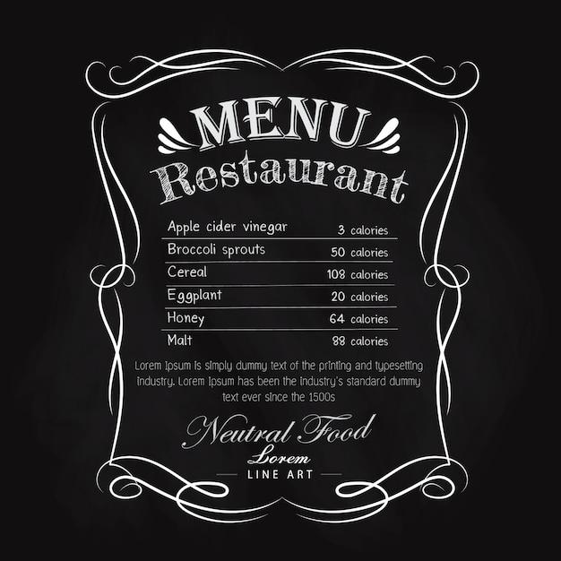 Black vintage restaurant menu main dessinée cadre vintage Vecteur Premium
