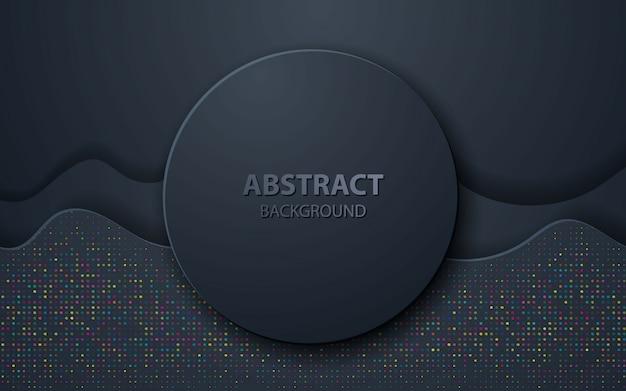 Black wave abstrait décoration réaliste Vecteur Premium