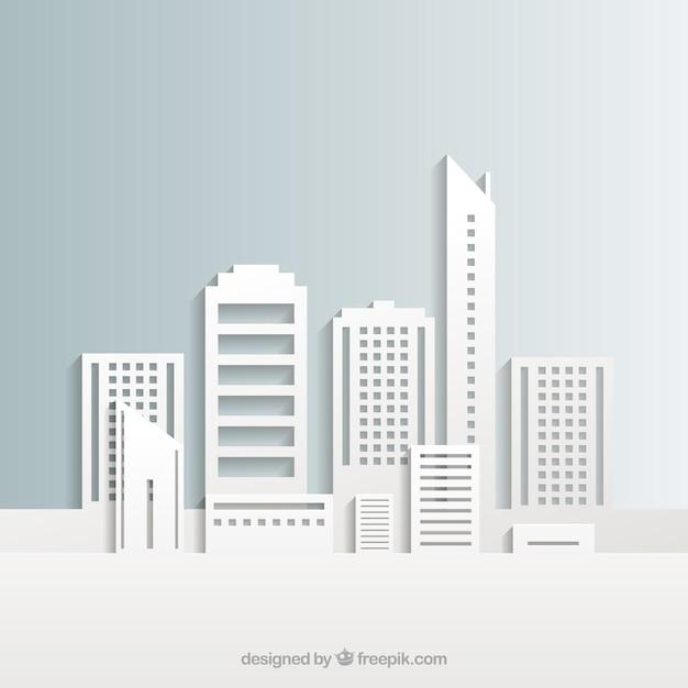 Blanc bâtiments de la ville Vecteur gratuit