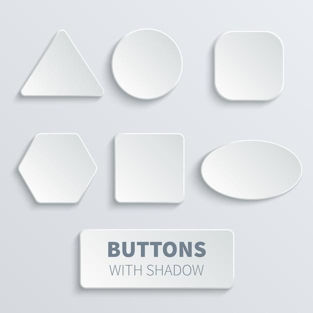 Blanc carré blanc 3d et bouton arrondi set vector. bouton rond, interface de badge pour illustration de l'application Vecteur Premium