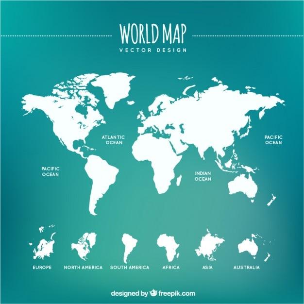 Blanc Carte Du Monde Vecteur gratuit