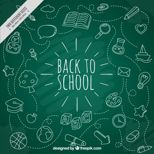 Blanc icônes de l'école avec tableau noir fond Vecteur gratuit