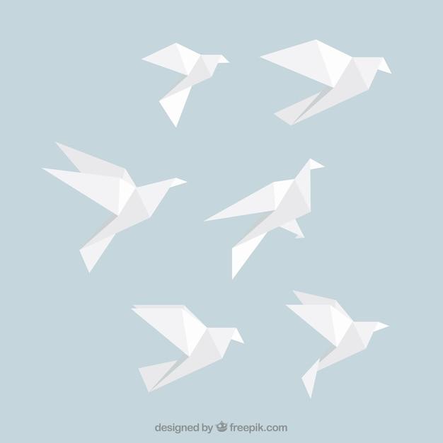 Blanc origami oiseaux Vecteur gratuit