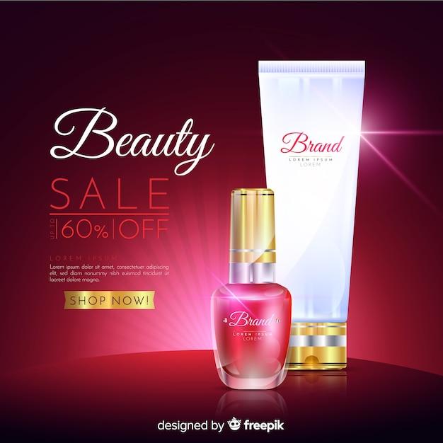 Blanchisserie cosmétique vente publicité réaliste Vecteur gratuit