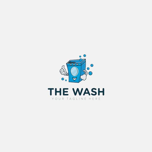 Blanchisserie Moderne, Logo De Mascotte De Machine à Laver S Vecteur Premium
