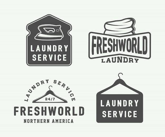 Blanchisserie, nettoyage des emblèmes Vecteur Premium