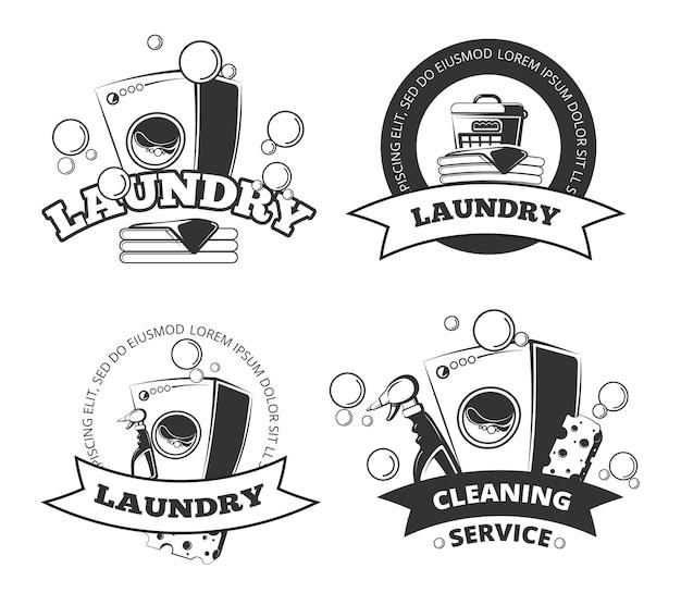 Blanchisserie vintage, étiquettes de vecteur propre et sec, emblèmes, logos, ensemble de badges. panier et machine à laver Vecteur Premium