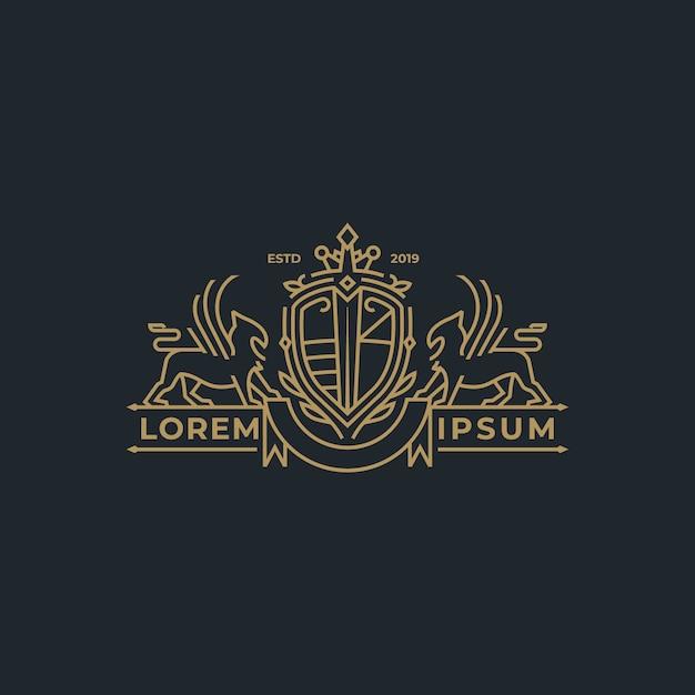 Blason héraldique linéaire en style de trait Vecteur Premium