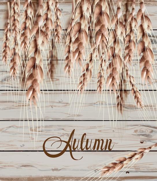 Blé épis Automne Carte D'automne. Affiche Rustique Vintage. Texture En Bois S Vecteur Premium