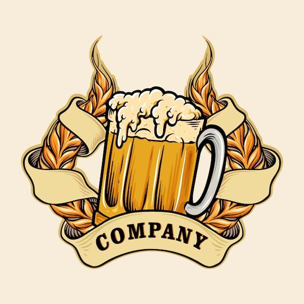 Blé Un Logo De Bière En Verre Vecteur Premium