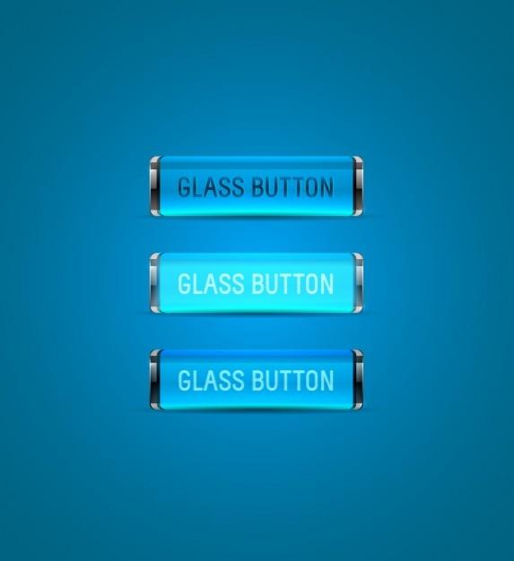 Bleu collection de boutons de verre Vecteur gratuit