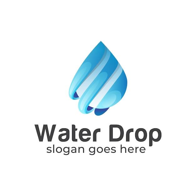 Bleu Dégradé Avec Logo Goutte D'eau Vecteur Premium