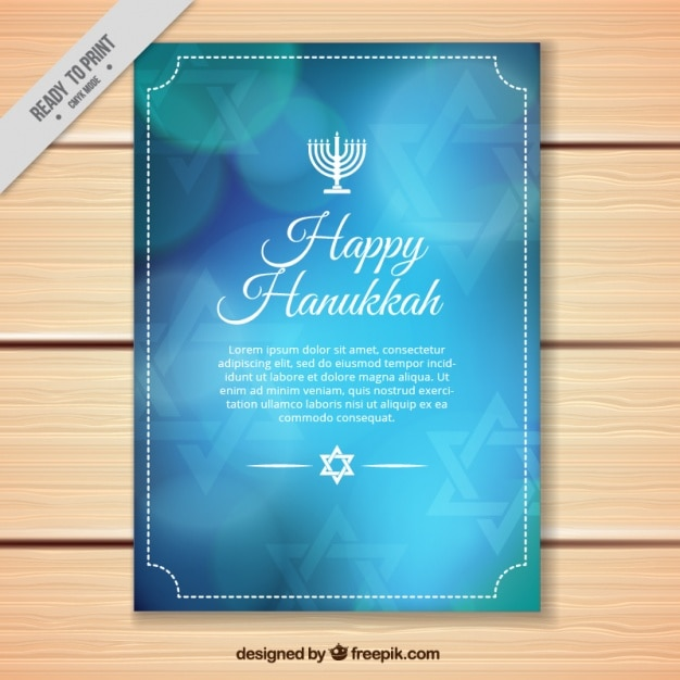 Bleu hanoucca carte de voeux avec effet bokeh Vecteur gratuit