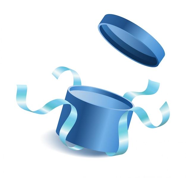 Bleu ouvert 3d réaliste boîte cadeau ronde avec voler hors couverture et rubans et place pour votre Vecteur Premium